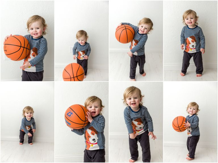 boy with basketball in southern oregon studio photo session
